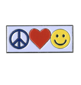 Peace, Love, Happy Enamel Pin
