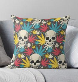Skull Cannabis Grass Throw Pillow