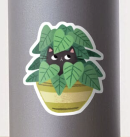 Black Cat in Planter Sticker