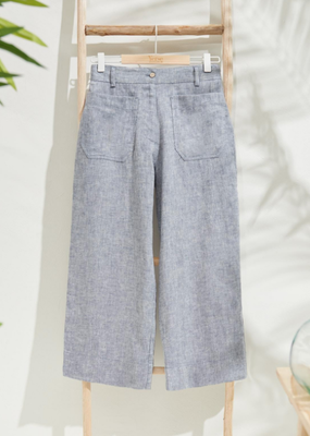 Yerse Yerse 2 pocket crop linen flare pants