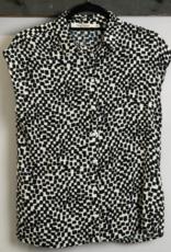 Nice Things Nice Things Irregular Checks Print Sleeve Top