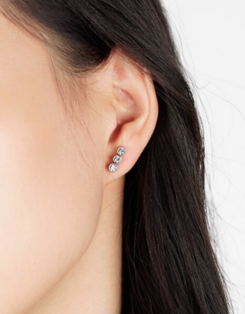 JJ & RR JJ+RR Linear Triple Crystal & silver earrings