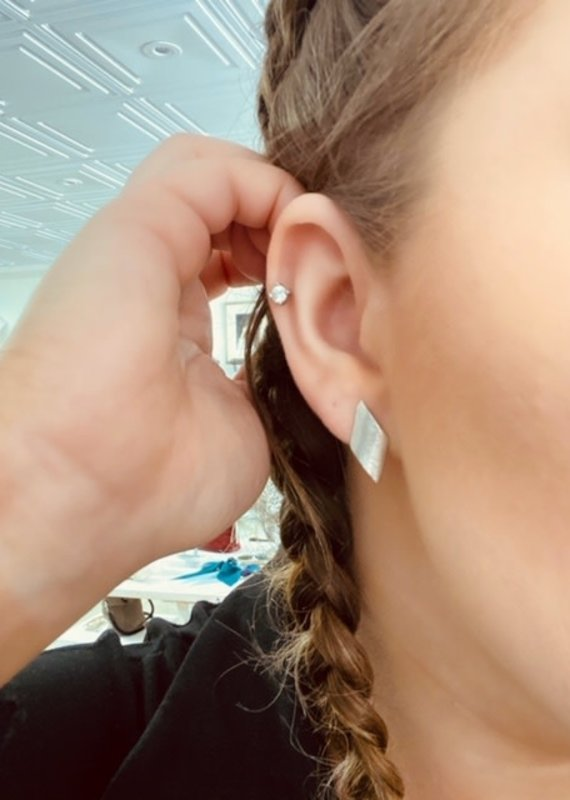 JJ+RR JJ+RR Matte Diamond Earrings - Silver only