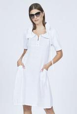 Pistache Pistache ribbed slv zippered linen dress