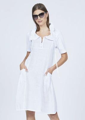 Pistache Ribbed slv zippered linen dress