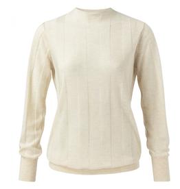 YaYa Mix knit mock neck with stripe print