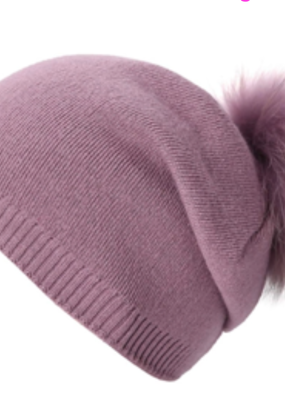 PNYC Evelyn Slouch Beanie Natural Fur