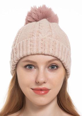 Pathz Cable Knit Fox Pom Hat