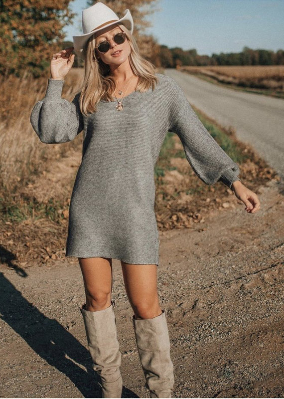 Lovestitch Knit LS Mini Sweater Dress