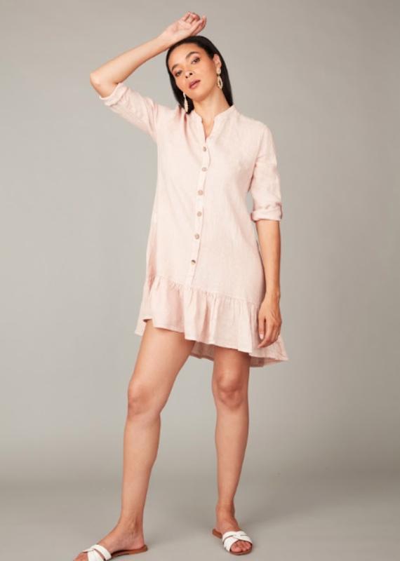 Pistache Button ruffle dress