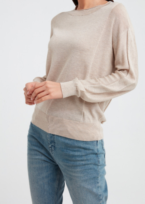 YaYa Silk blend sweater with knitted panels