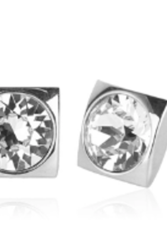 JJ+RR Luxe Square Swarovski crystal stud