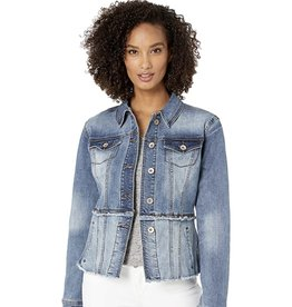 Tribal Empire Waist Jean Jacket with Frayed Hem