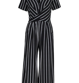 Tribal Short-sleeve Wrap Striped Jumpsuit