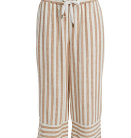 Tribal Striped  Pull-on Linen Blend Capri with Elastic Waistband