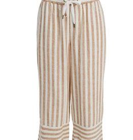 Tribal Striped  Pull-on Linen Blend Capri with Elastic Waistband