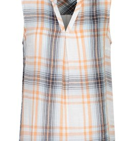 Tribal Sleeveless V-neck Plaid Blouse