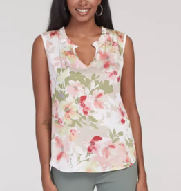 Tribal Ruffle Neck Sleeveless Floral Blouse