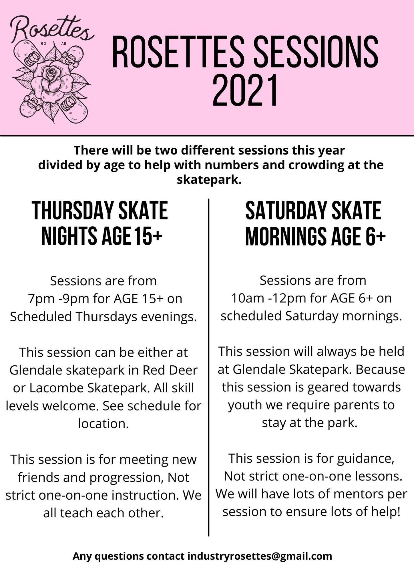 The Rosettes summer skate events for 2021