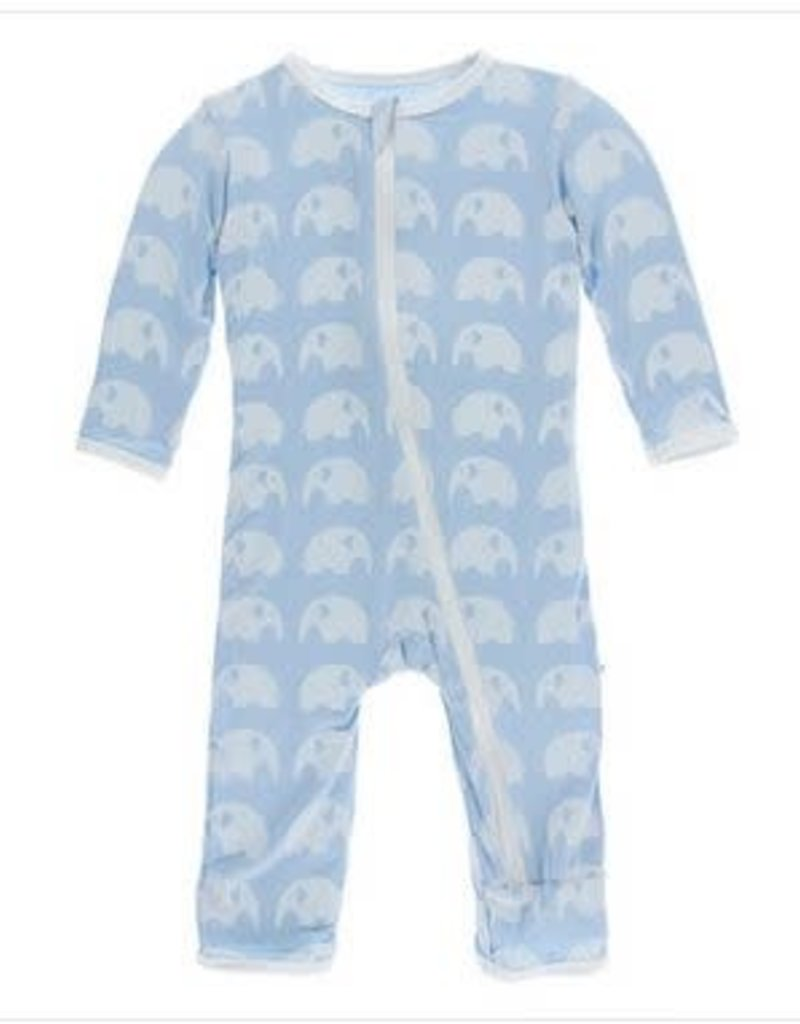 KicKee Pants KicKee Pants - Essentials Print Coverall with Zipper in Pond Elephant