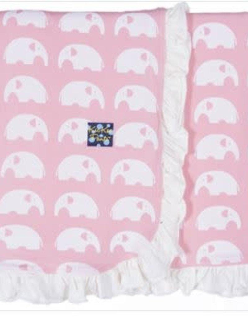 KicKee Pants KicKee Pants - Essentials Print Ruffle Stroller Blanket in Lotus Elephant