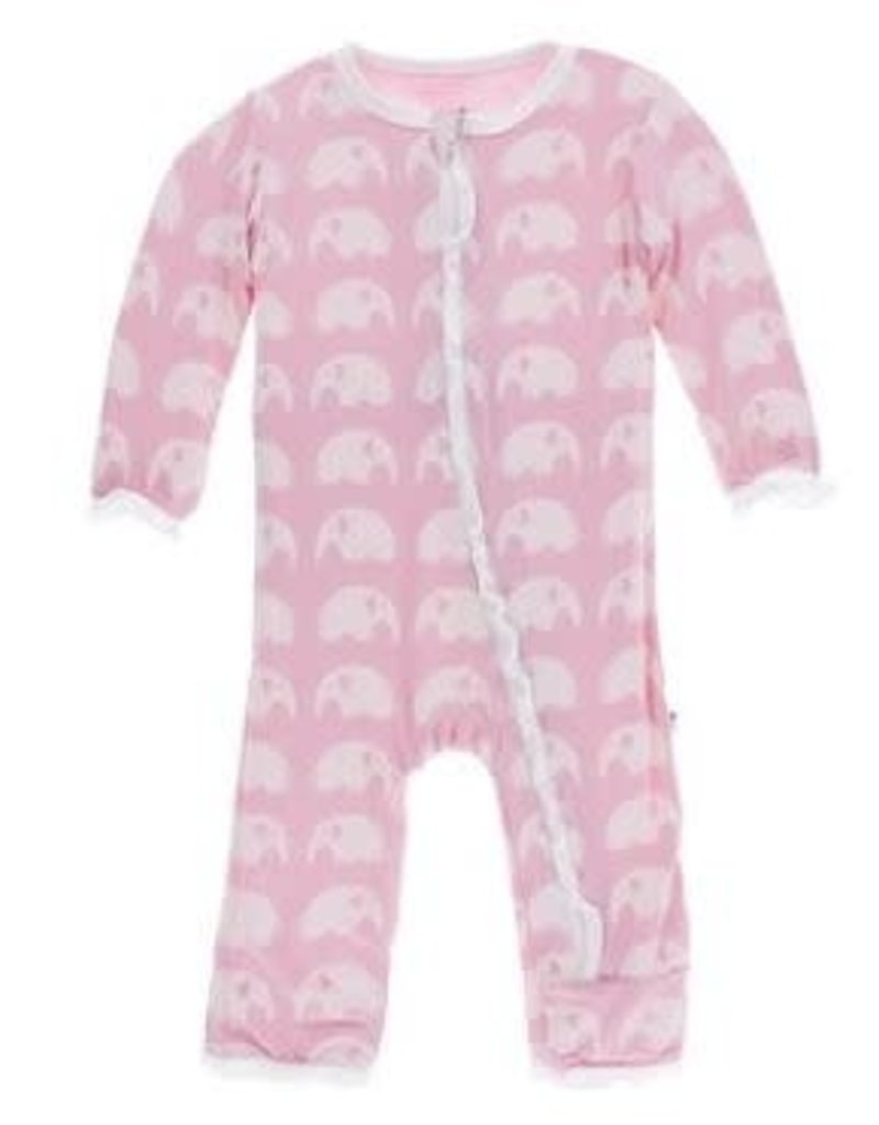 KicKee Pants KicKee Pants - Essentials Print Classic Ruffle Coverall with Zipper in Lotus Elephant