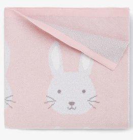 Elegant Baby Elegant Baby - Pink Bunny Cotton Knit Baby Blanket