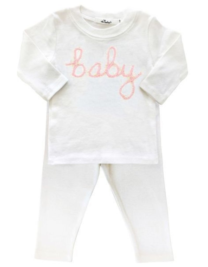 oh baby! oh baby! - Two Piece Set - Baby in Blush Pink/Gold Yarn - Cream