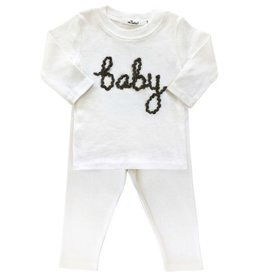 oh baby! oh baby! - Two Piece Set - Baby in Deep Blue Yarn - Cream