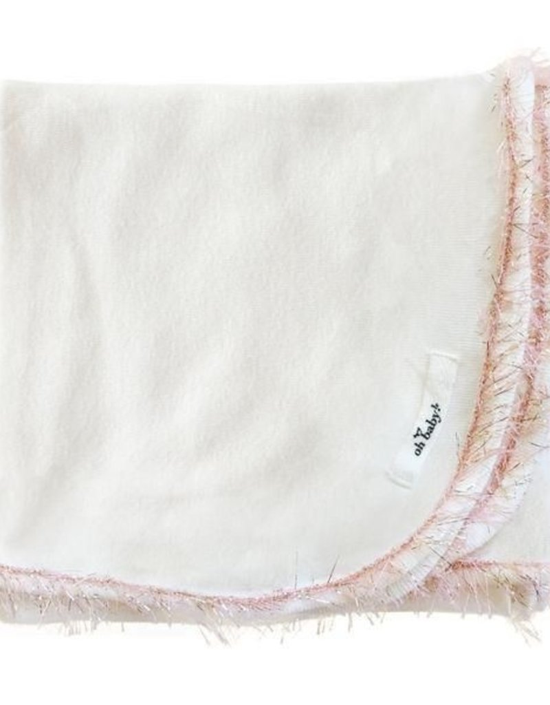 oh baby! oh baby! - Trimmed Layette Blanket - Blush/Pink Gold - Cream