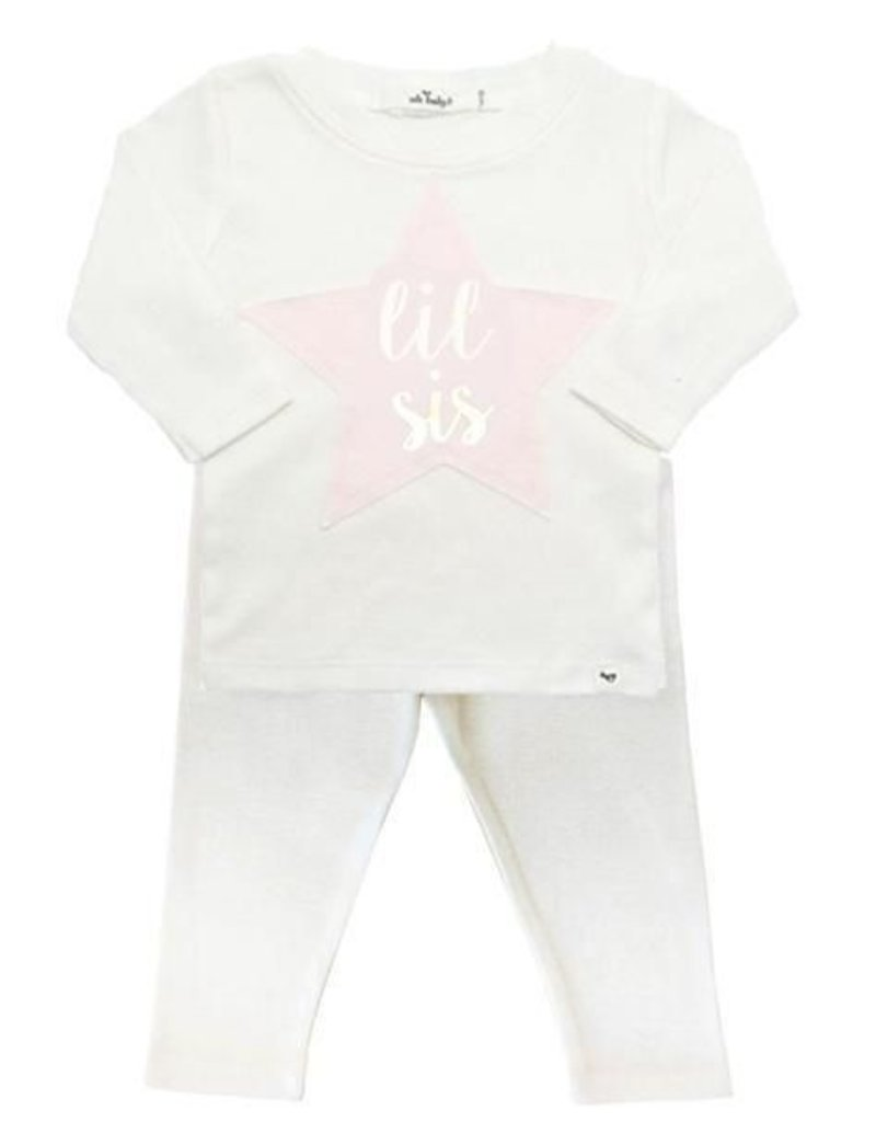 oh baby! oh baby! - Two Piece Set - Lil Sis Gold Foil Pink Star Patch - Cream