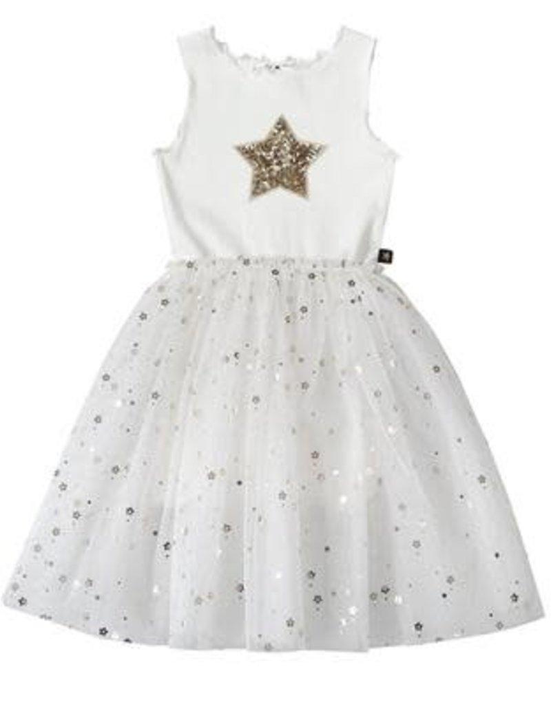 Petite Hailey Petite Hailey – Star Dress Short Sleeve in White