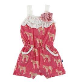 KicKee Pants KicKee Pants - Flower Romper - Red Ginger Unicorns