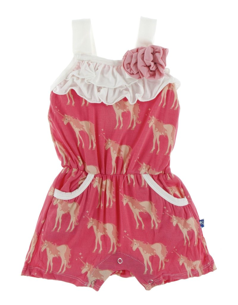 KicKee Pants KicKee Pants - Flower Romper - Red Ginger Unicorns