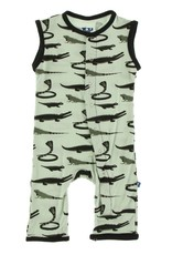 KicKee Pants KicKee Pants - Tank Romper - Aloe Reptiles
