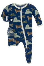 KicKee Pants KicKee Pants - Footie/Blue Big Cats