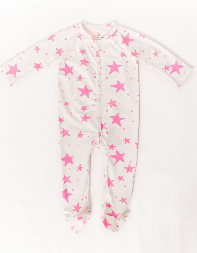 Noe & Zoe Noe & Zoe - Neon Pink Stars Footie