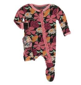KicKee Pants KicKee Pants - Zebra Flowers Ruffle Zip Footie