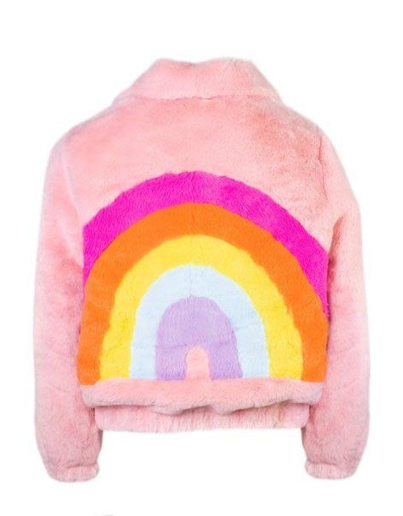 Lola and the Boys Lola and the Boys - Rainbow Faux Fur Coat