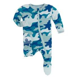 KicKee Pants KicKee Pants - Oasis Military Zip Footie