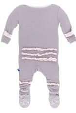KicKee Pants KicKee Pants - Feather Macaroon Ruffle Zip Footie