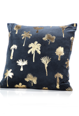 Palmier Midnight Blue Throw Pillow Large