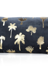 Palmier Midnight Blue Throw Pillow Rectangular