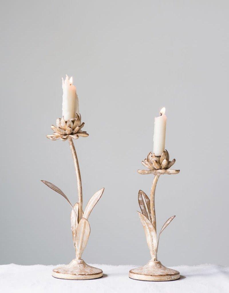 Metal Flower Taper Holders,  Set of 2