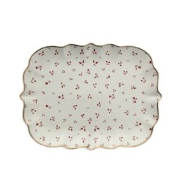 Stoneware Platter w/ floral pattern