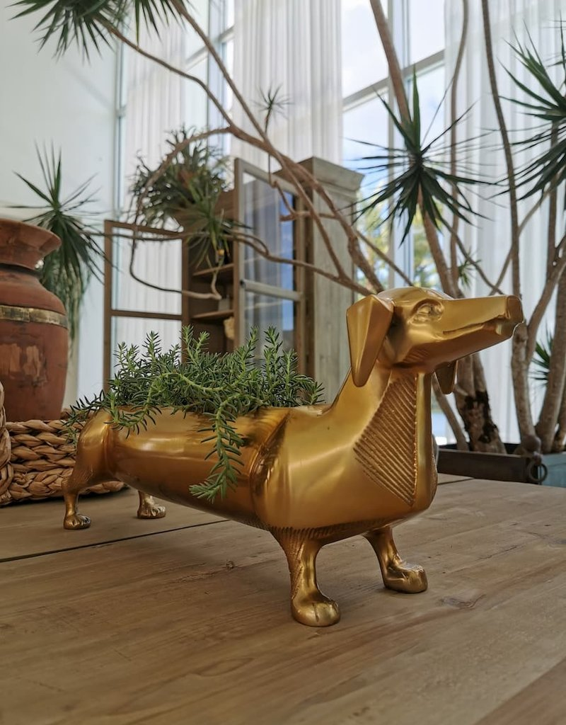 Dachshund Brass Planter