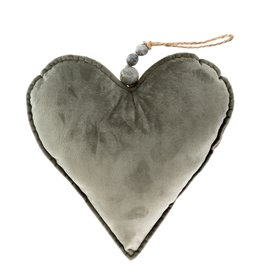 Velvet Heart Ornament Grey