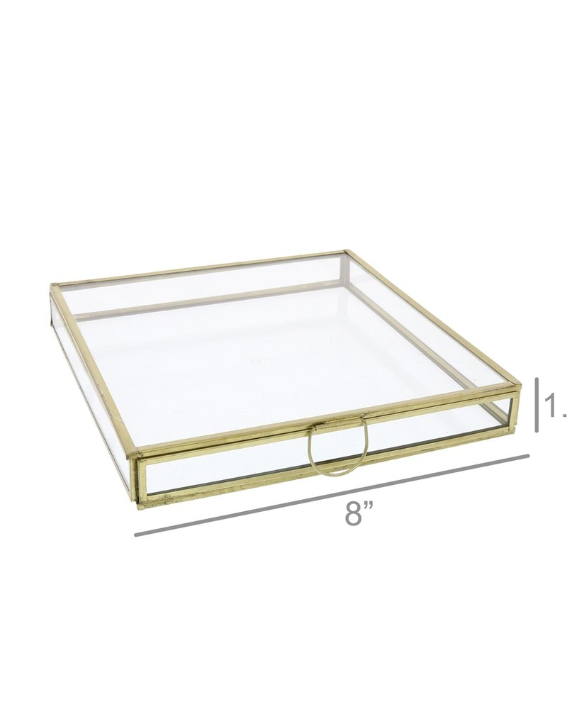 Monroe Flat Square Box - Med - Brass