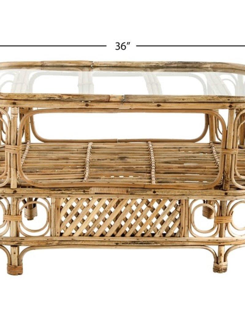 Oval Bamboo & glass table w/ shelf