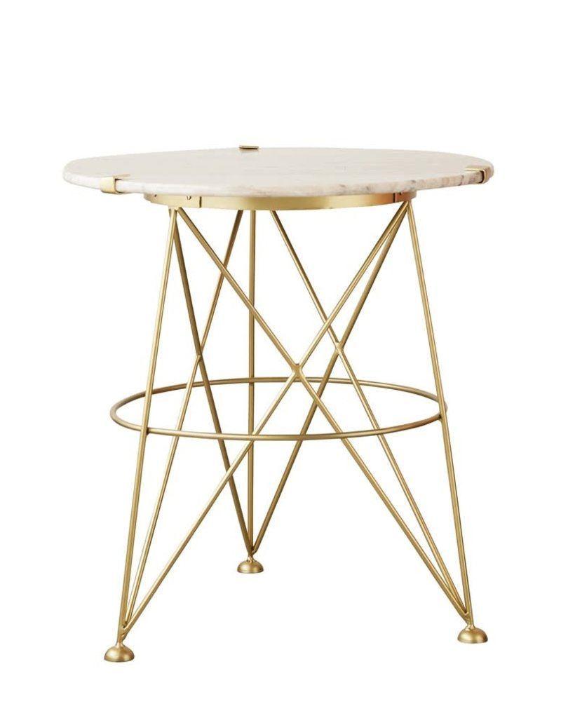 Metal Table w/ Sand Colored Marble